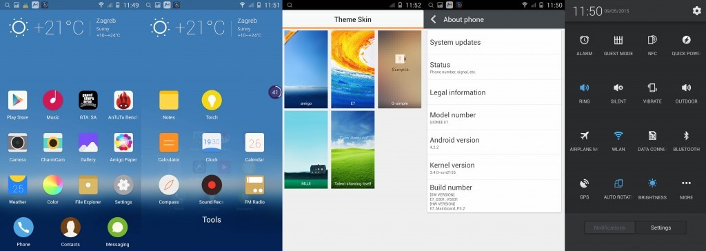 Gionee Elife E7 android system