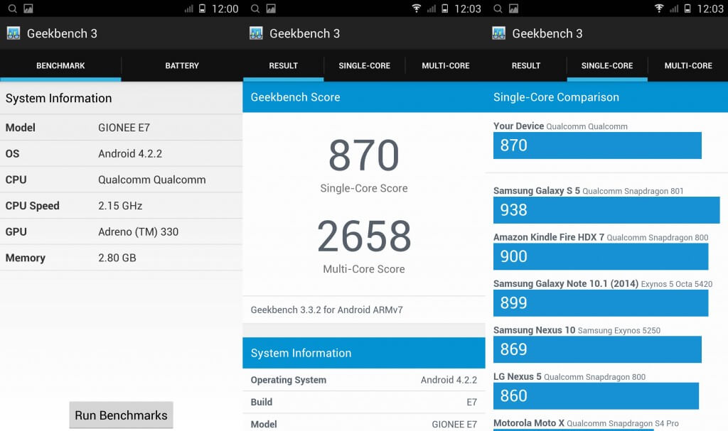 Gionee Elife E7 geekbench testing
