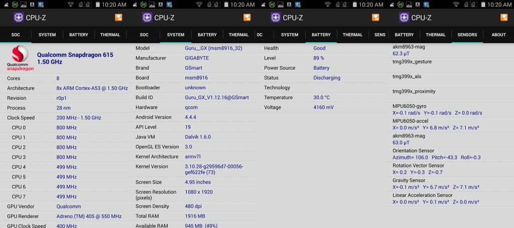 cpu-z information for gsmart guru gx