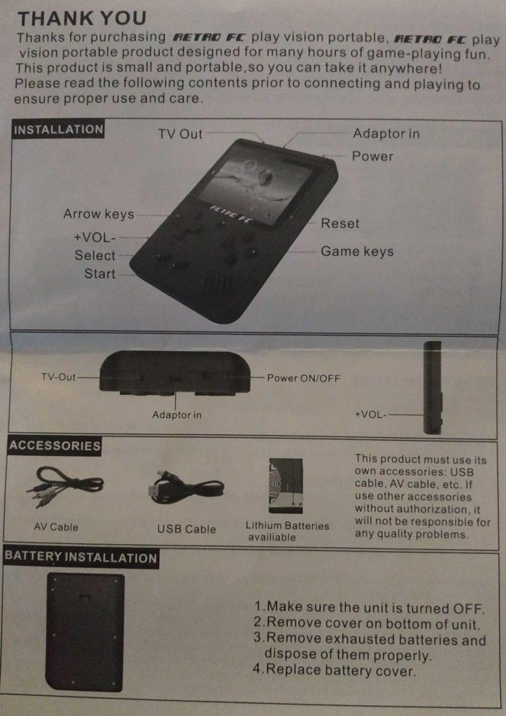 English Manual for Gocomma 168 in 1 Retro FC Plus