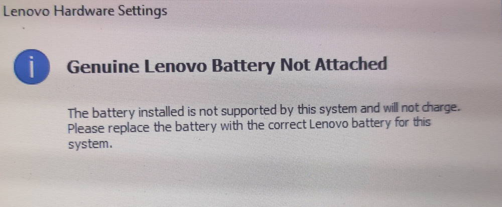 Genuine Lenovo Battery Not Attached